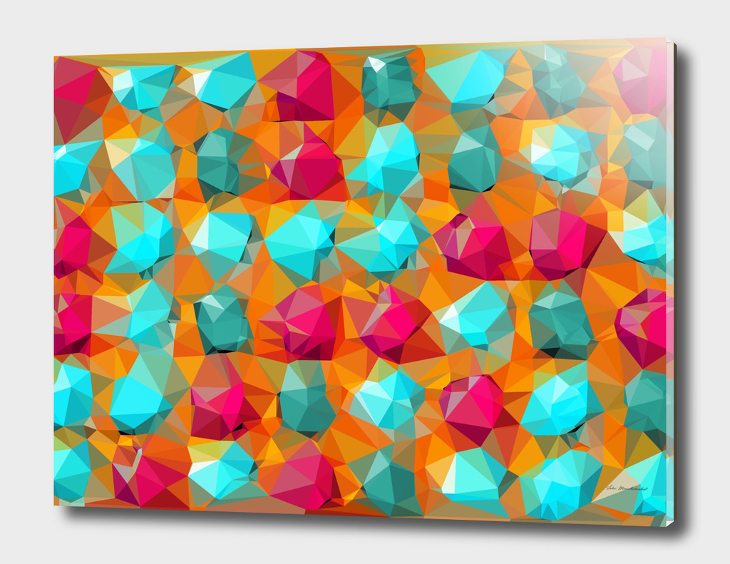 geometric polygon abstract pattern in orange pink green