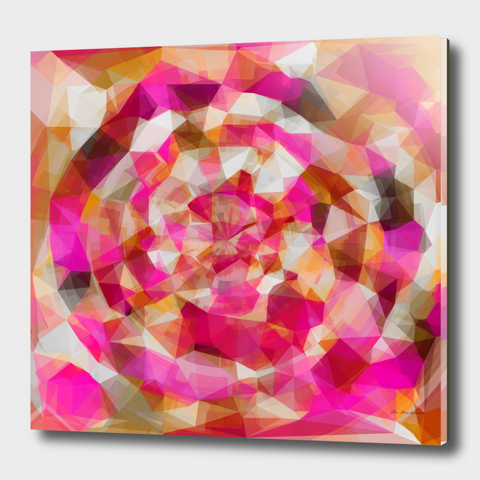 geometric polygon abstract pattern in pink orange brown