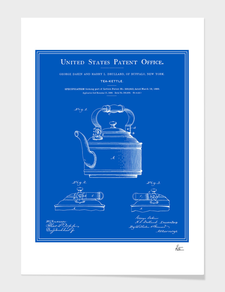 Tea Kettle Patent - Blueprint