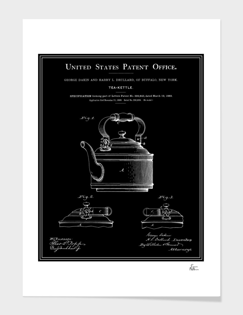 Tea Kettle Patent - Black