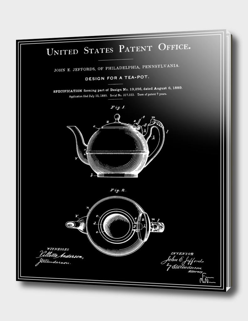 Tea Pot Patent - Black