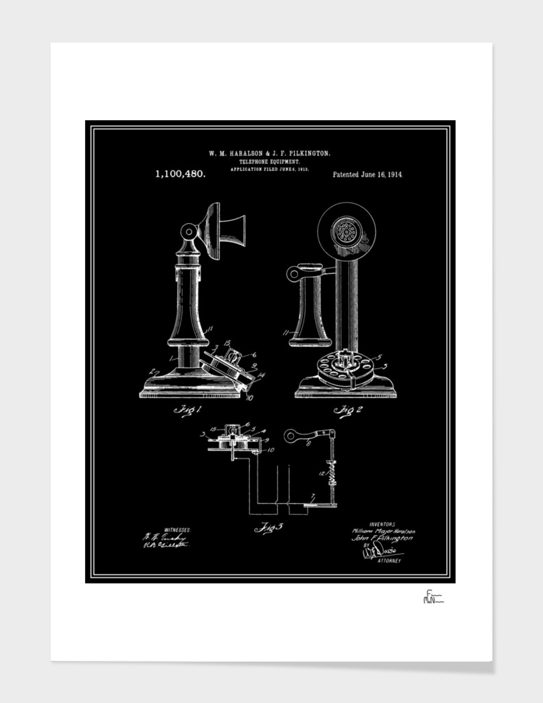 Telephone Patent - Black