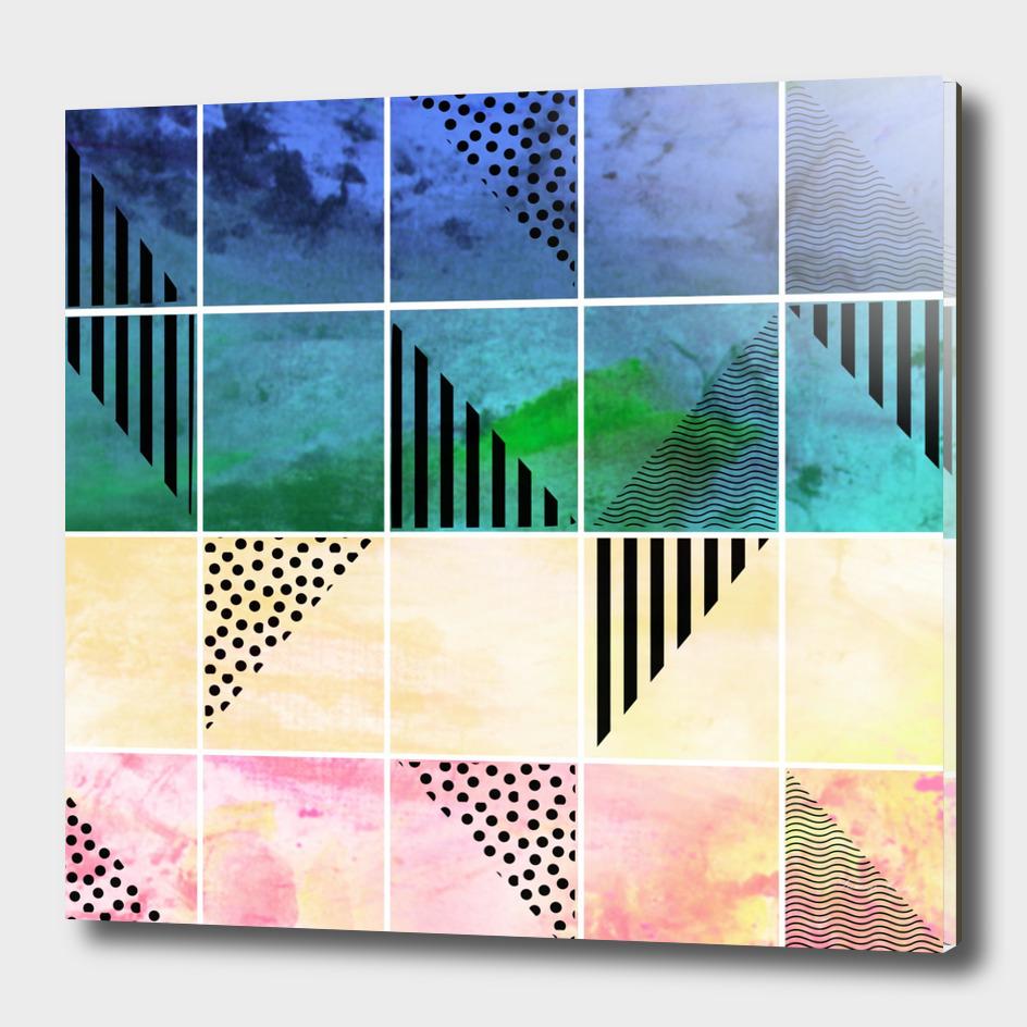 mosaic abstract blue watercolor