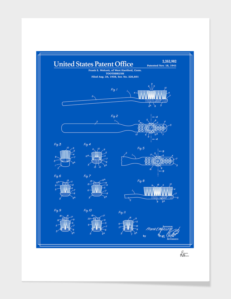Toothbrush Patent - Blueprint