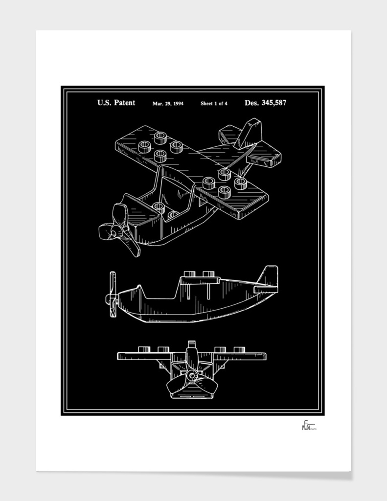 Toy Airplane Patent - Black