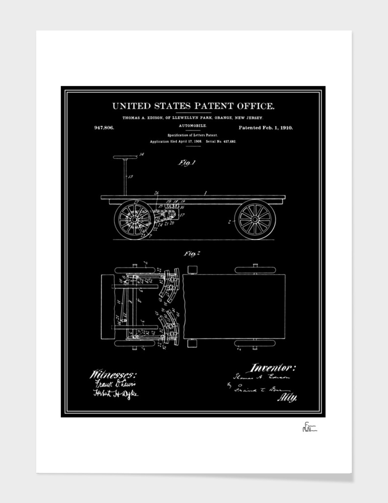 Thomas Edison Automobile Patent - Black