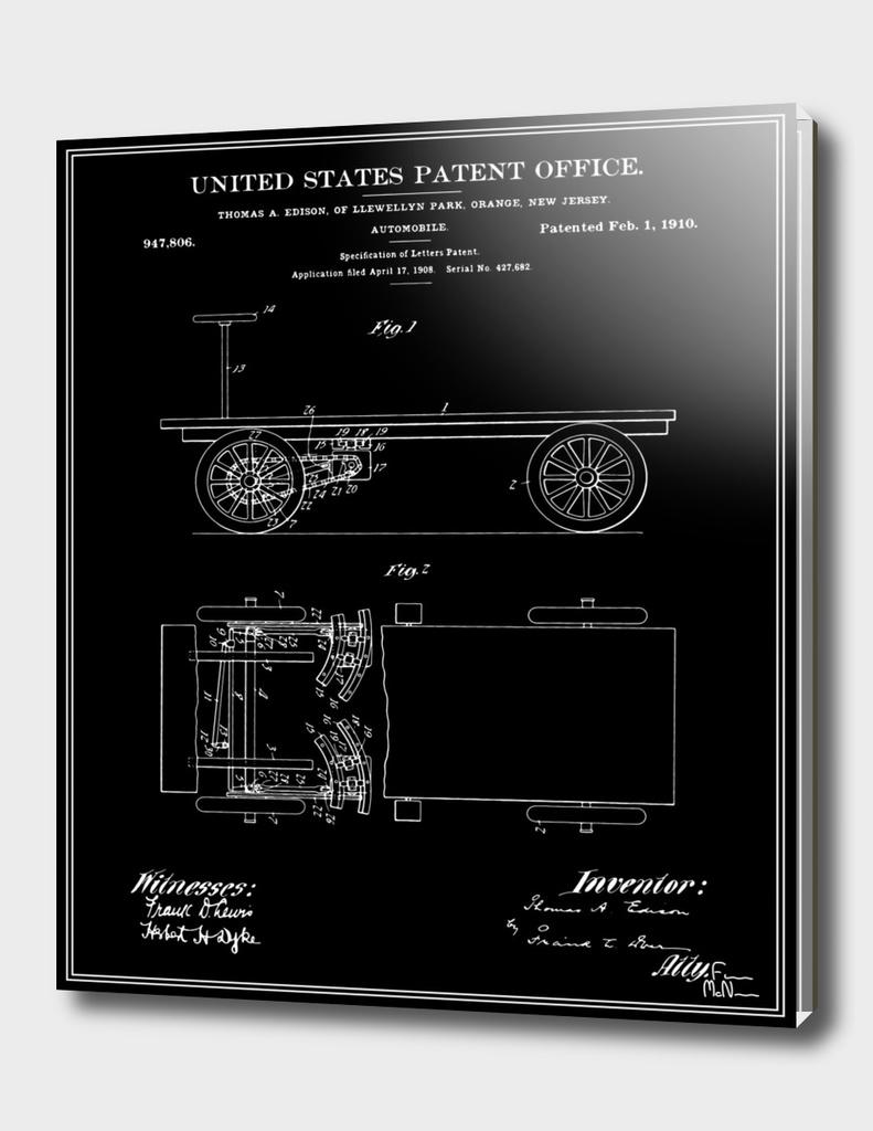 Thomas Edison Automobile Patent - Black