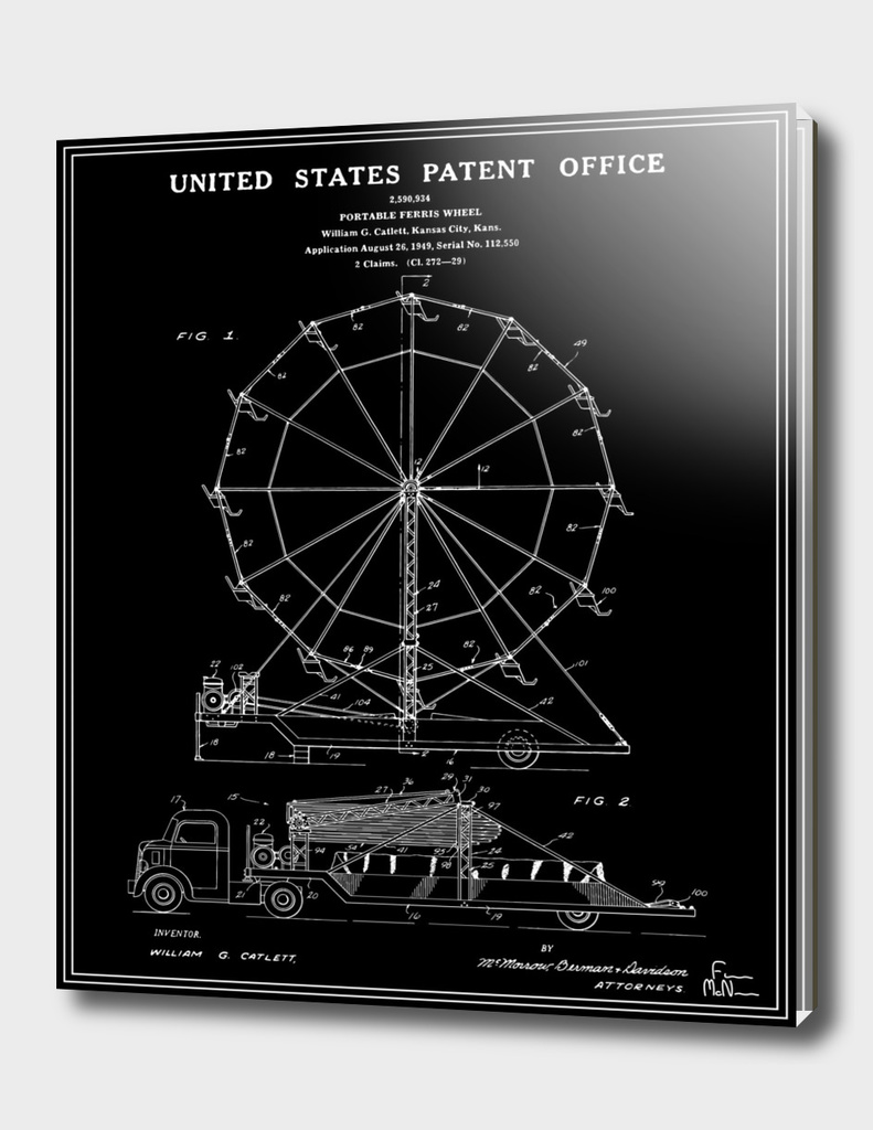 Ferris Wheel Patent - Black