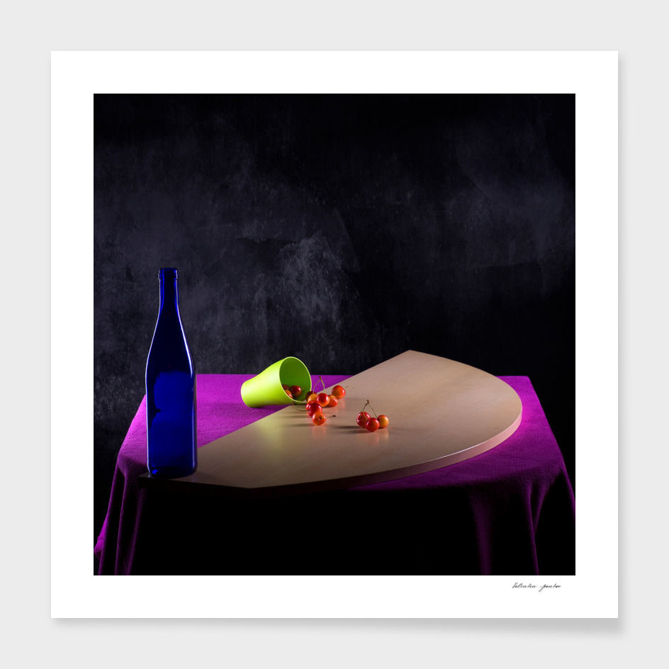 Still life with a glass of fallen