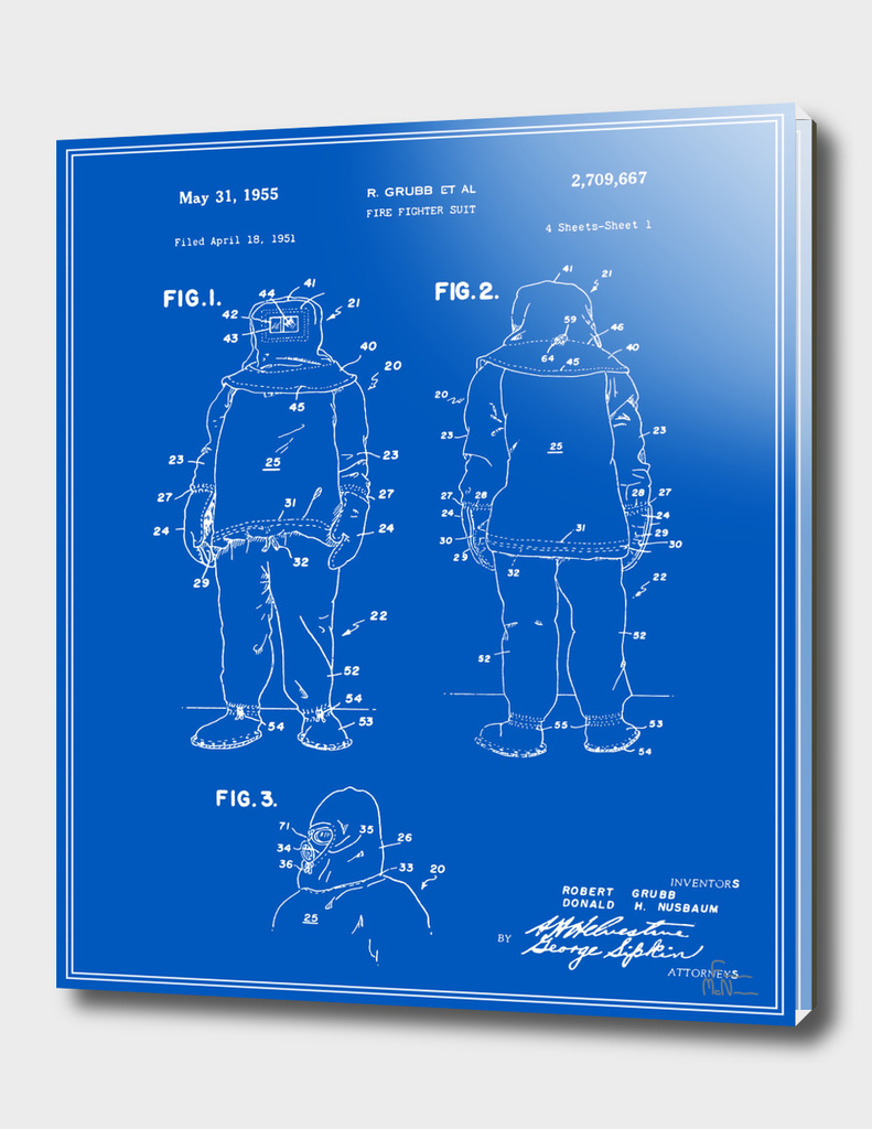 Fire Fighter Suit Patent - Blueprint