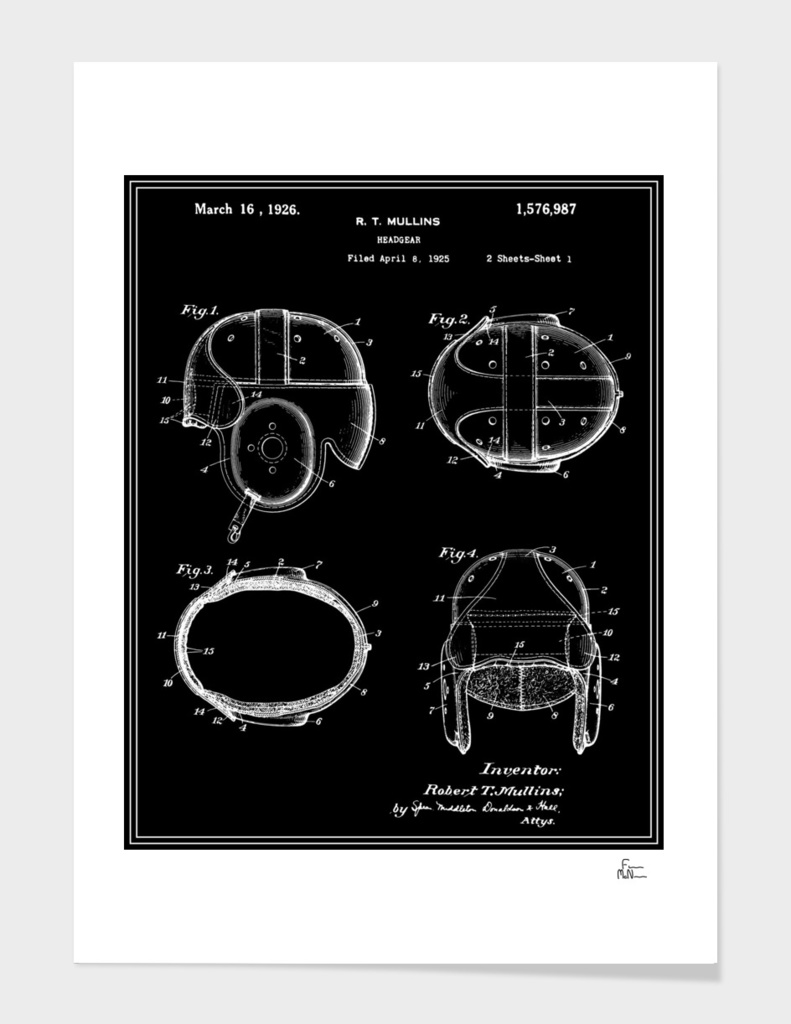 Football Helmet Patent - Black