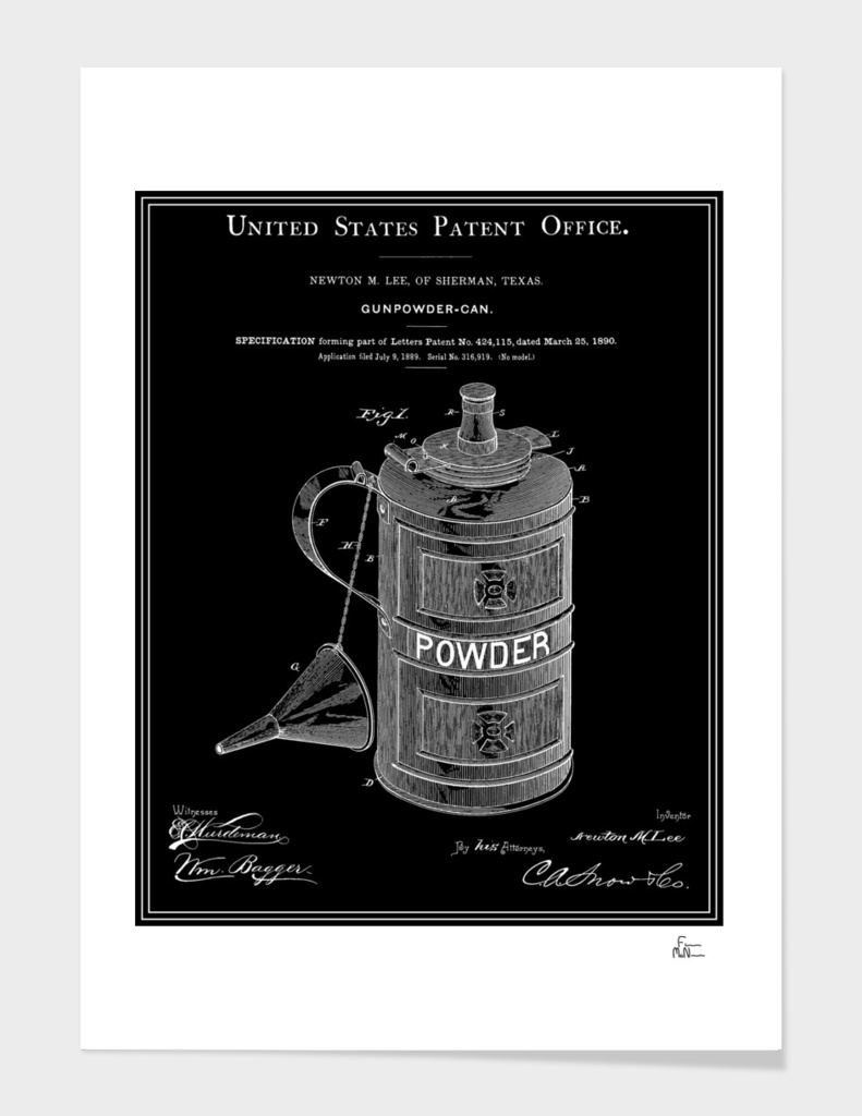 Gunpowder Can Patent - Black