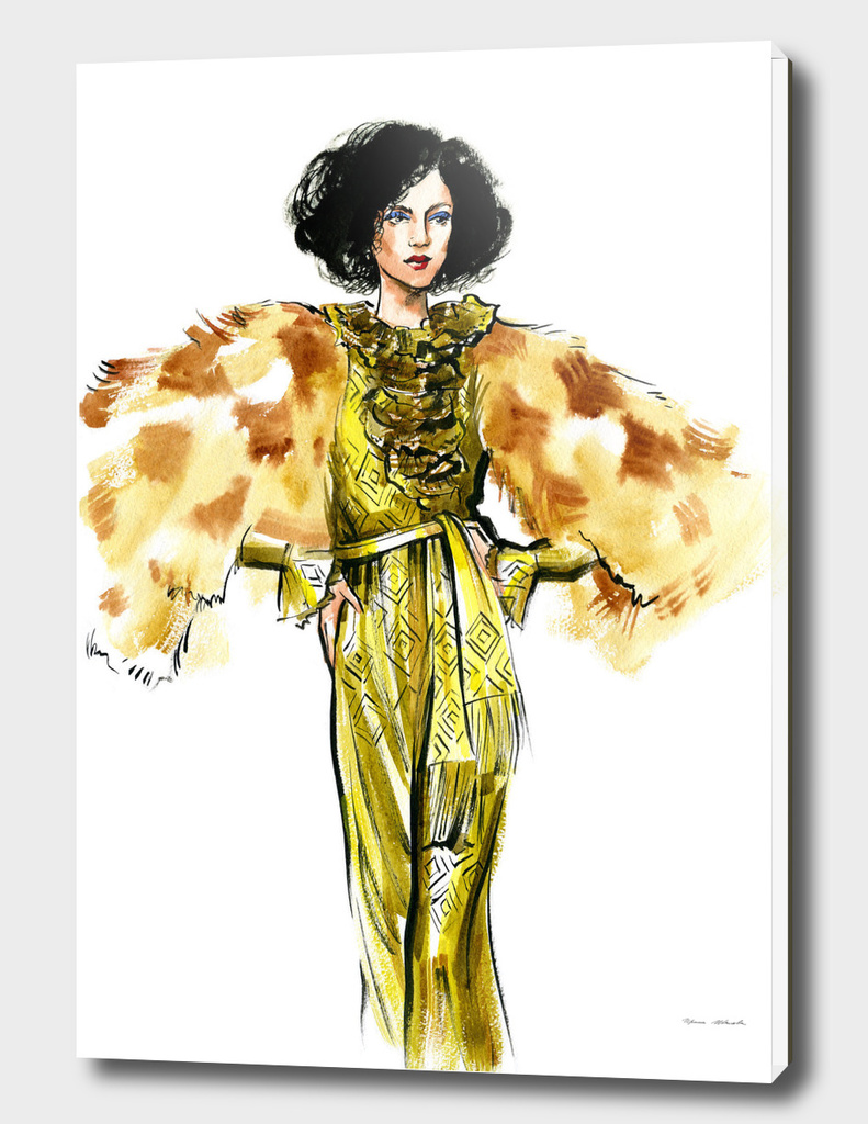 A woman in a golden dress and fur jacket