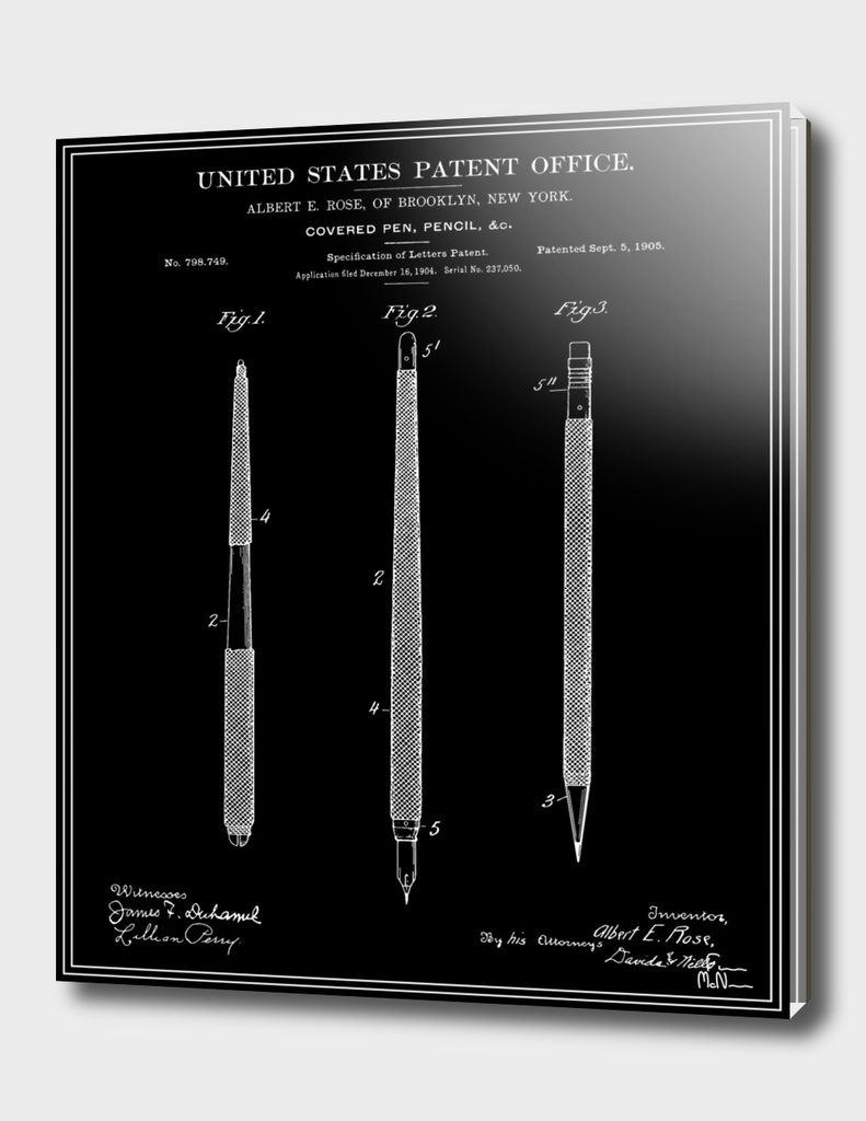 Pencil Set Patent - Black