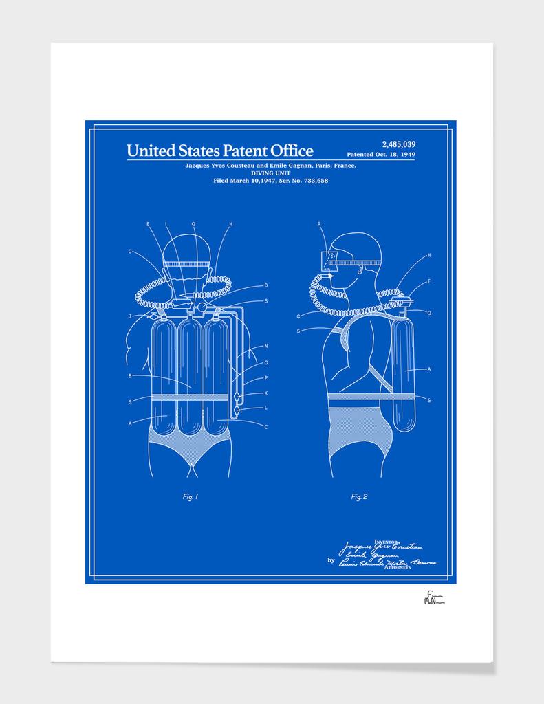 Jacques Cousteau Diving Unit Patent - Blueprint