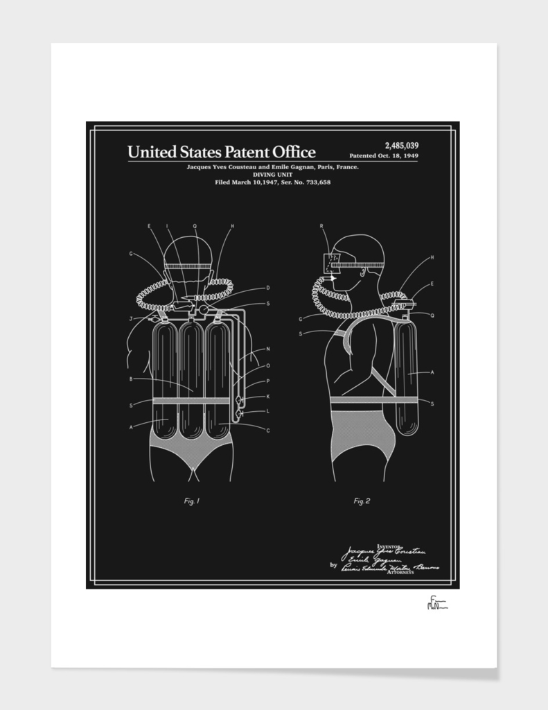Jacques Cousteau Diving Unit Patent - Black