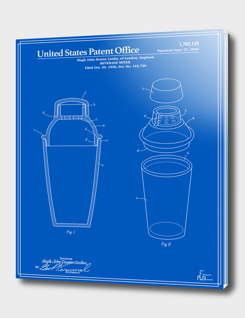 Cocktail Shaker Patent - Blueprint