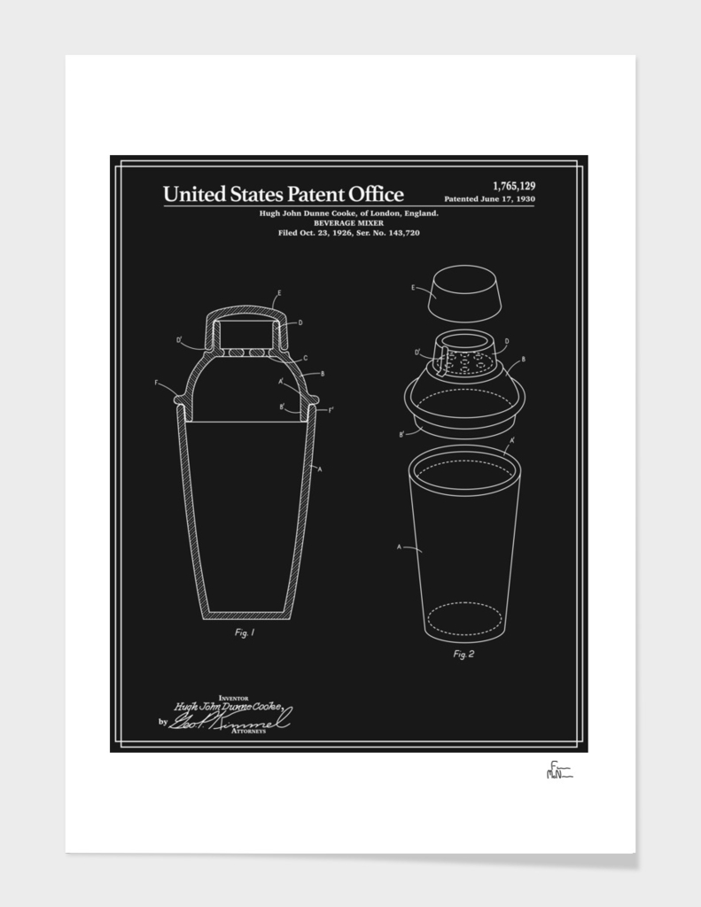 Cocktail Shaker Patent - Black