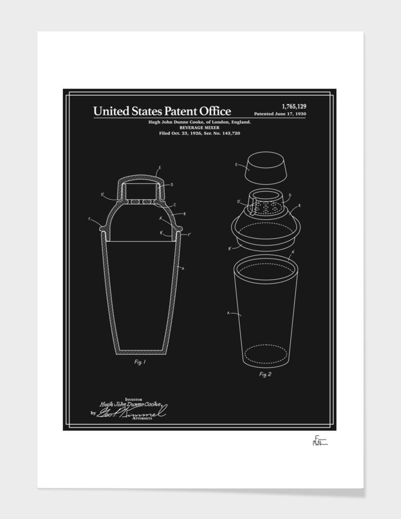 Cocktail Shaker Patent - Black