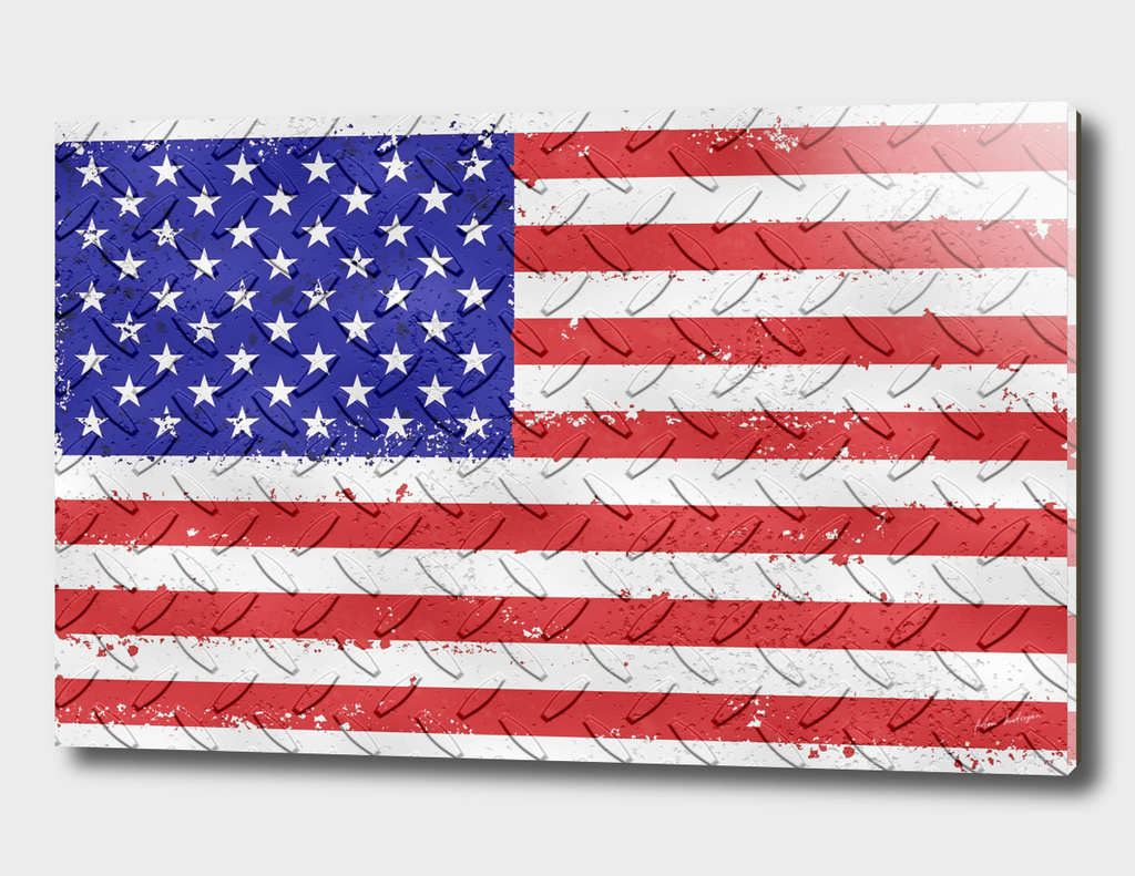 american flag on metal