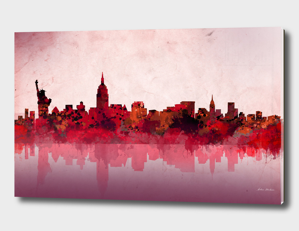 new york city skyline red
