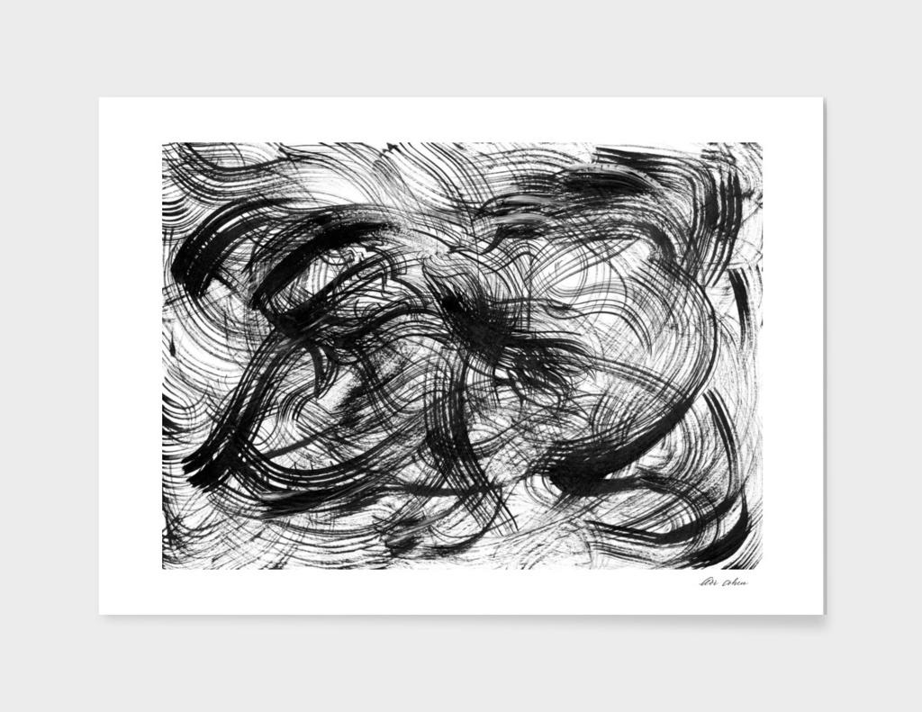 Black waves abstract art