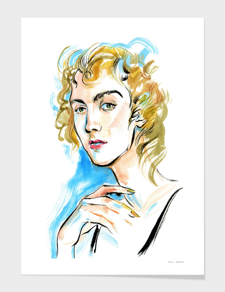 A girl with curly blond hair and green eyes