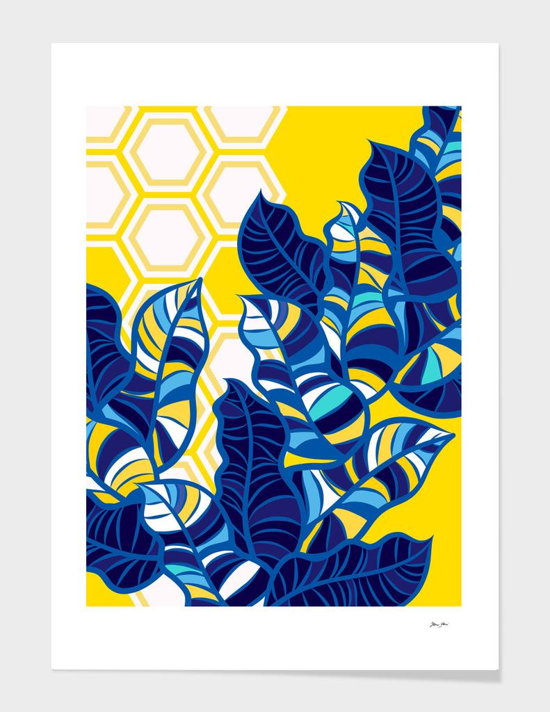 Geo Blue Foliage on Yellow & White