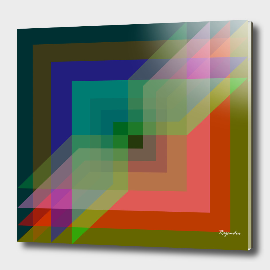 Square colourful digital painting for office and home walls
