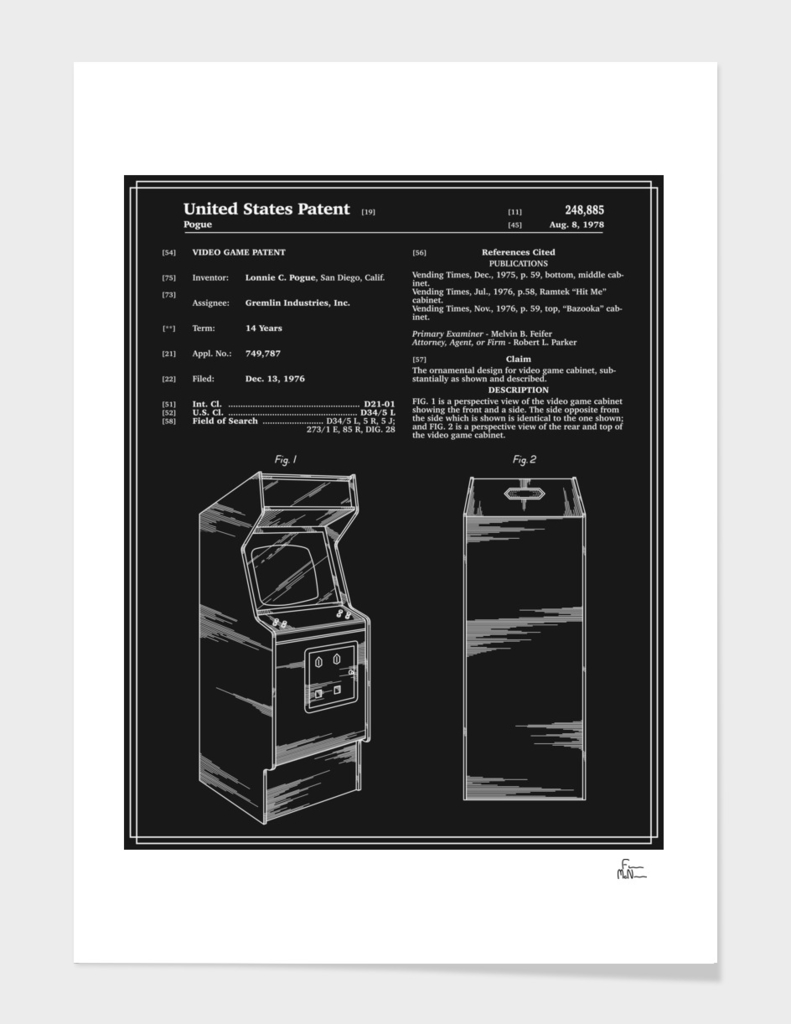 Arcade Game Patent - Black