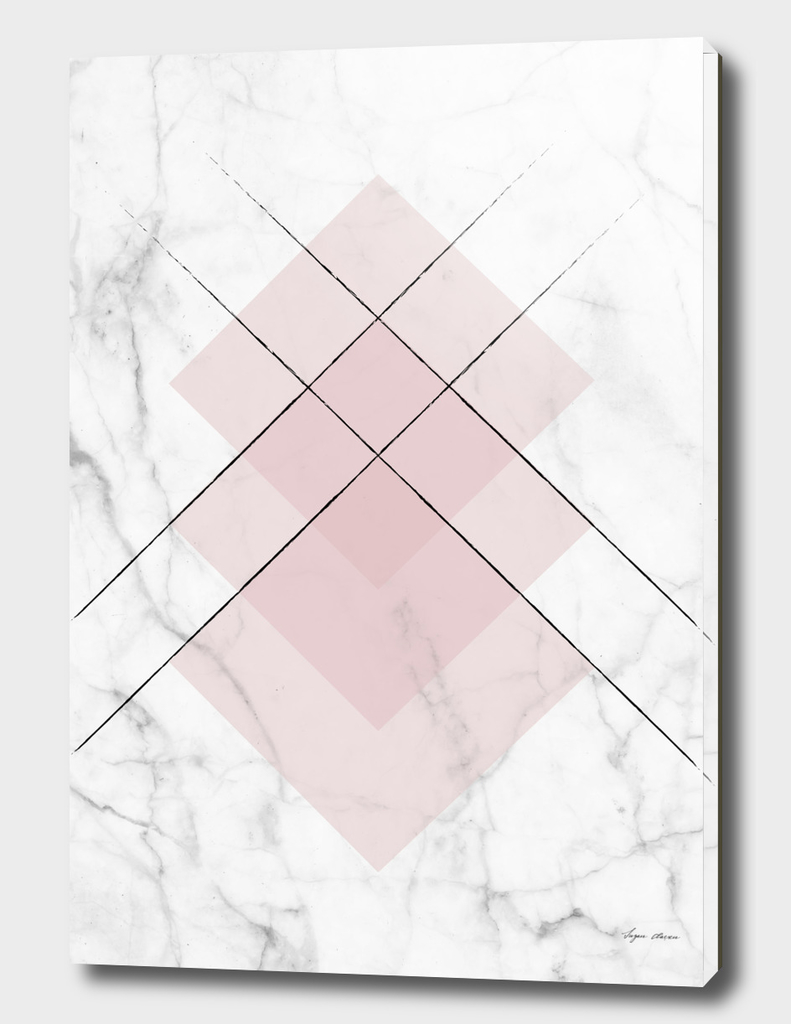 White Marble Scandinavian Geometric Blush Pink Squares