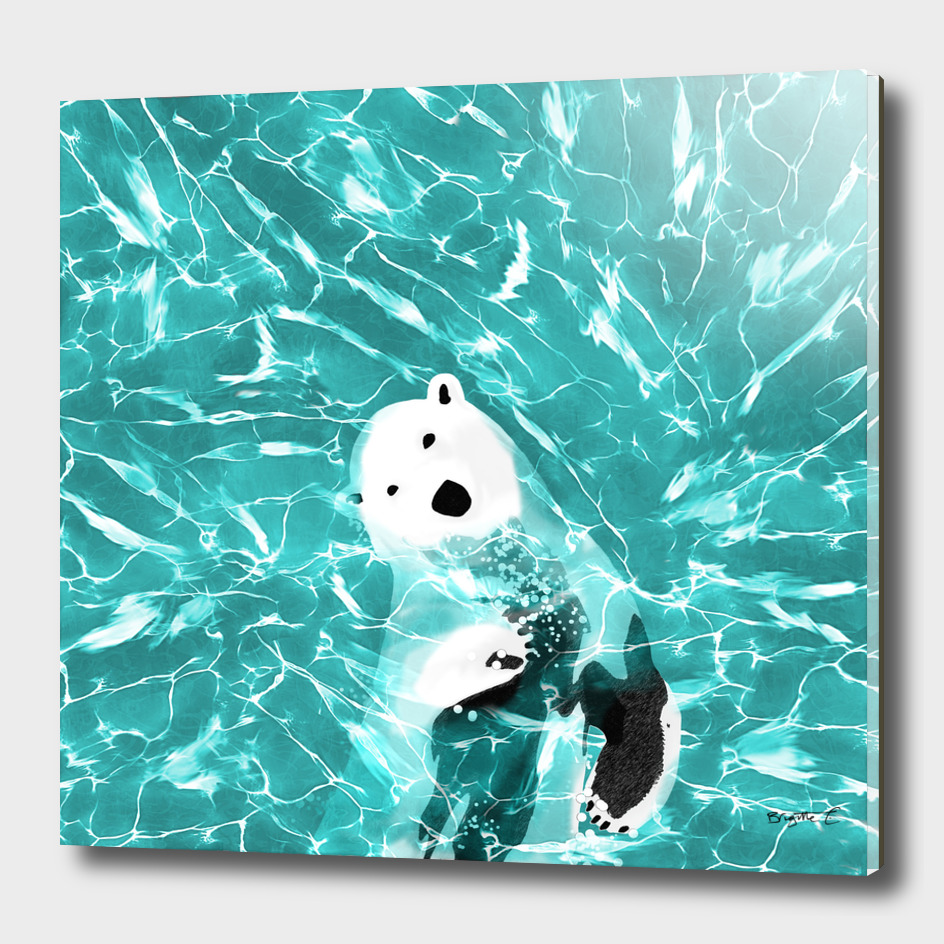 Playful Polar Bear In Turquoise Water Design
