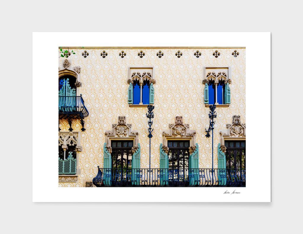 Apartment Building Block Exterior Facade In Barcelona