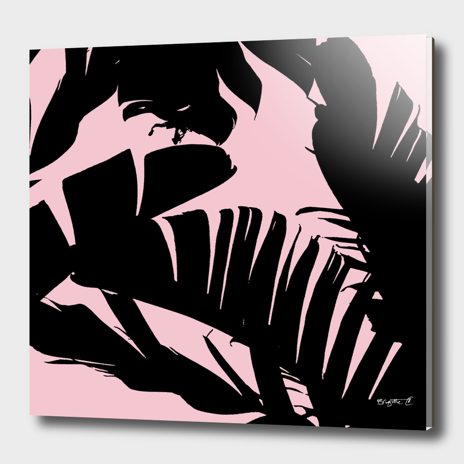 Unique Black and Pink Tropical Banana Leaves Pattern