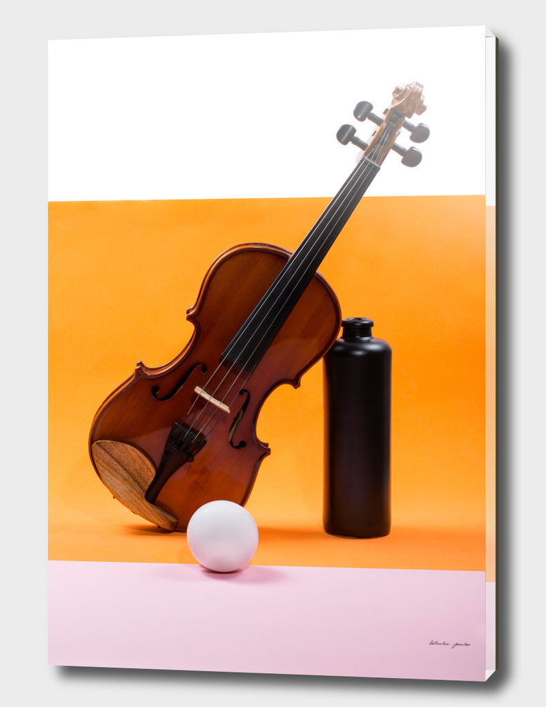 Still-life with a violin, a ball and a dark bottle