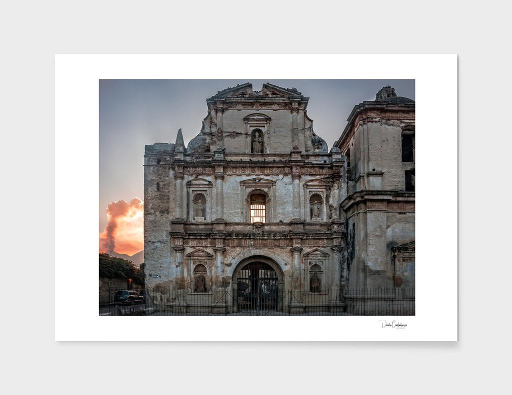Facade of a ruined Church in Antigua, Guatemala