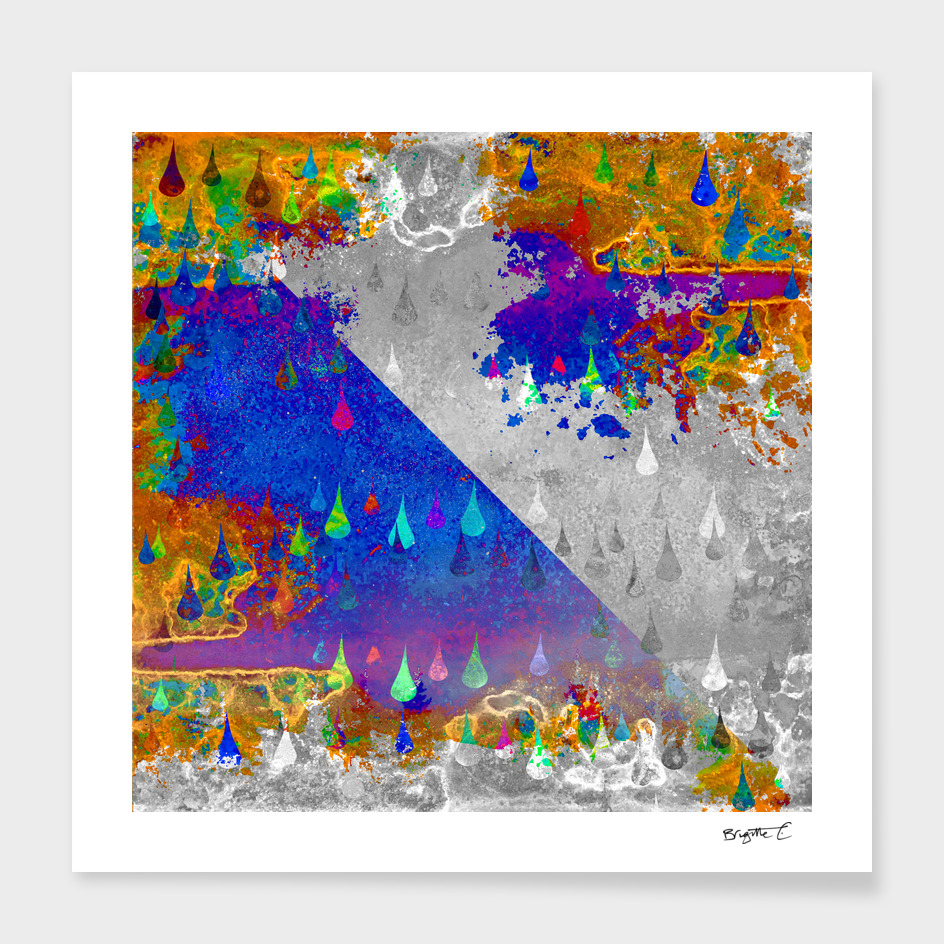 Abstract Colorful Rain Drops Design