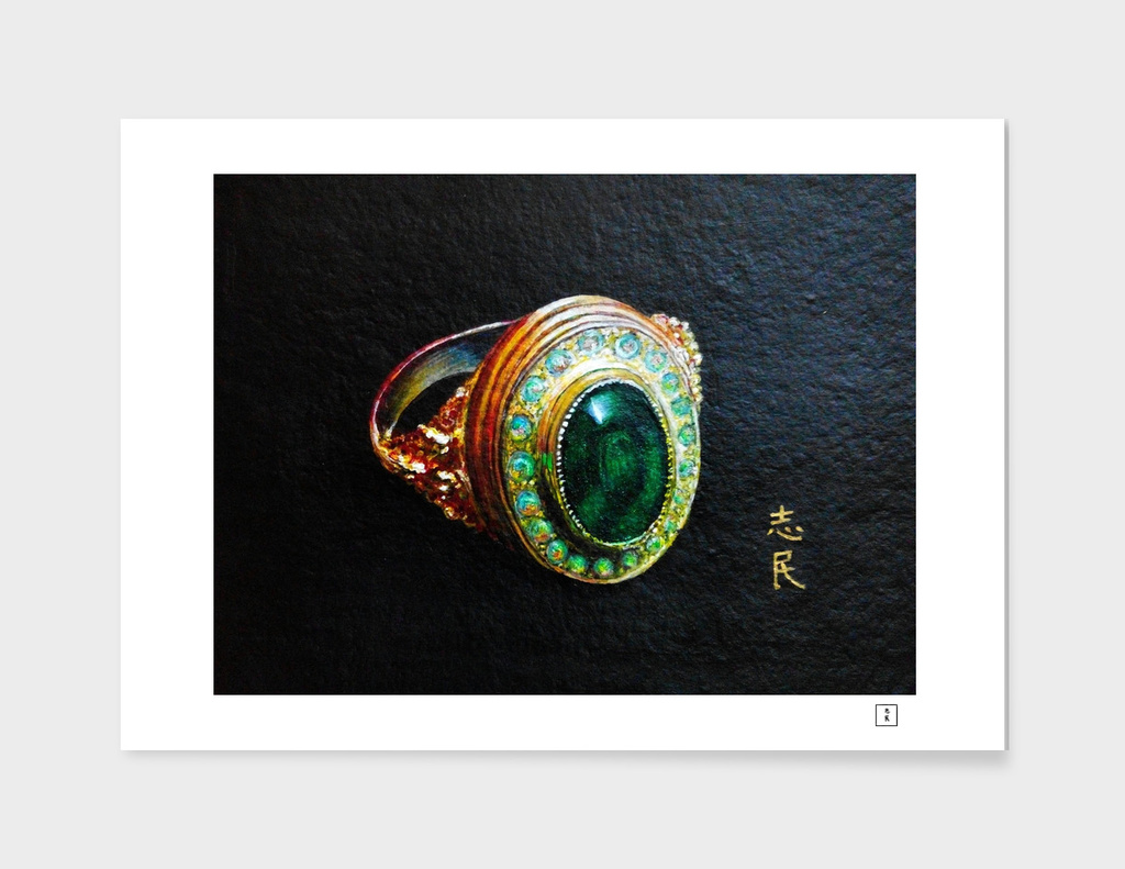 Study of a gold ring with green chalcedony and opals