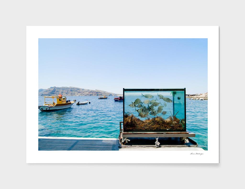 Beautiful Santorini sea view on the see