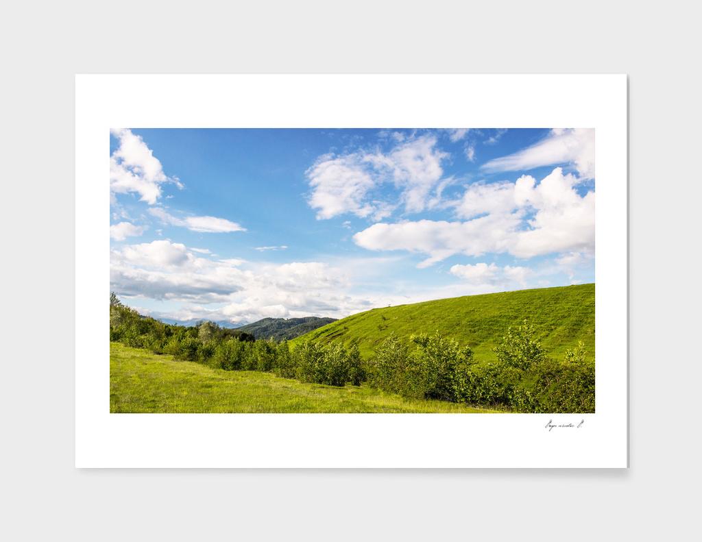 Green hills blue sky