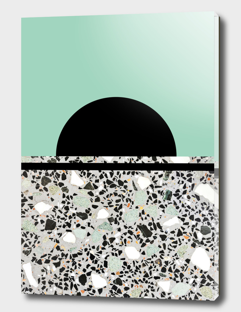 Abstract Concrete and Marble Terrazzo Stone Pastel Green