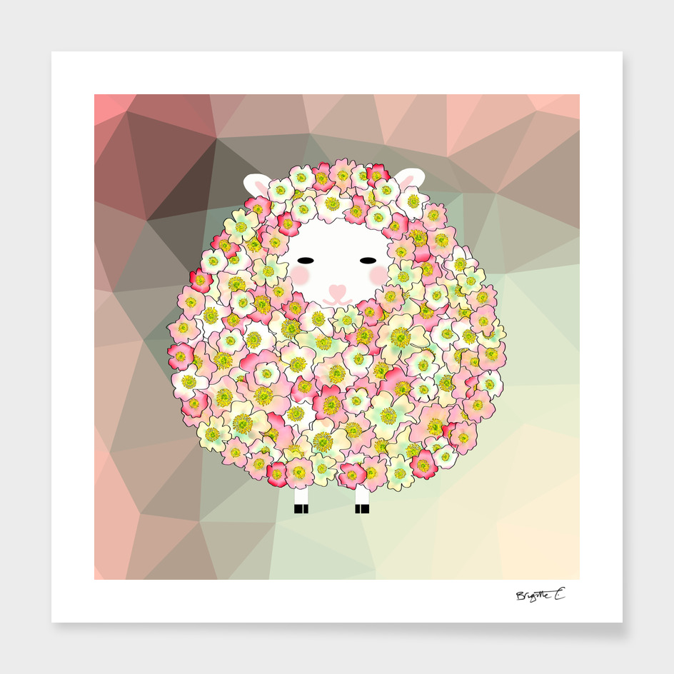 Pastel Tone Flowery Sheep Design