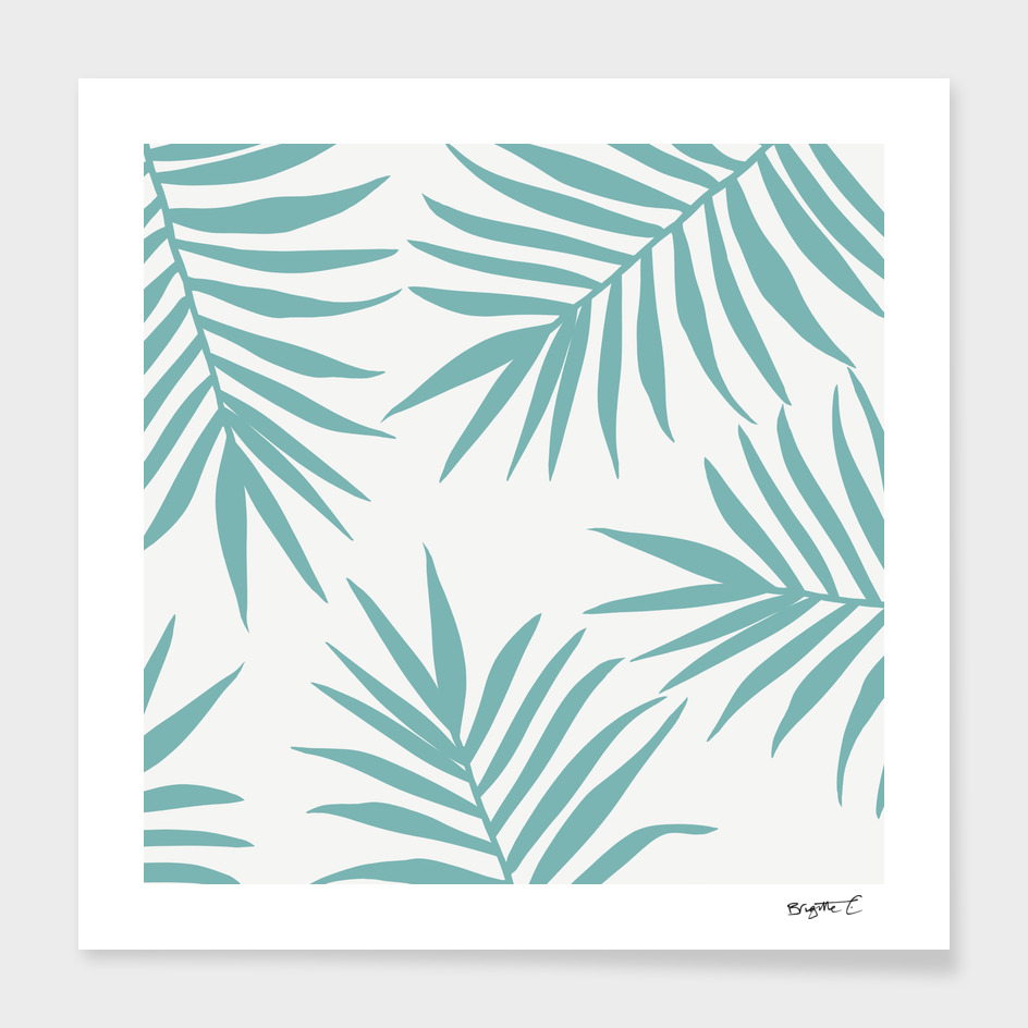 Delicate Green Tropical Leaves Pattern