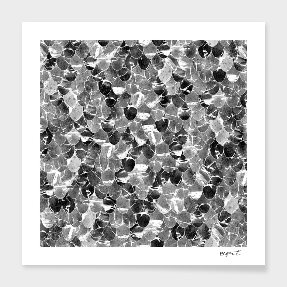 Black and White Abstract Mermaid Scales Pattern