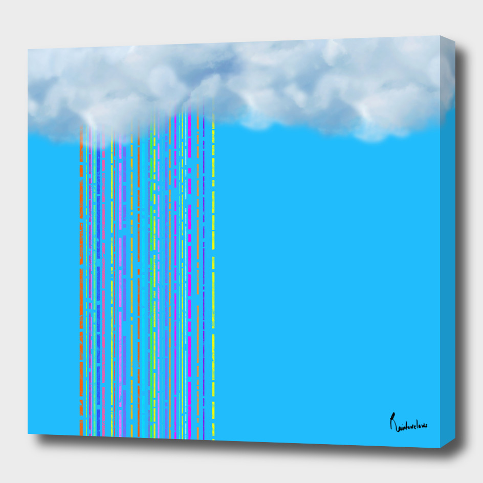Rainbow rainy cloud