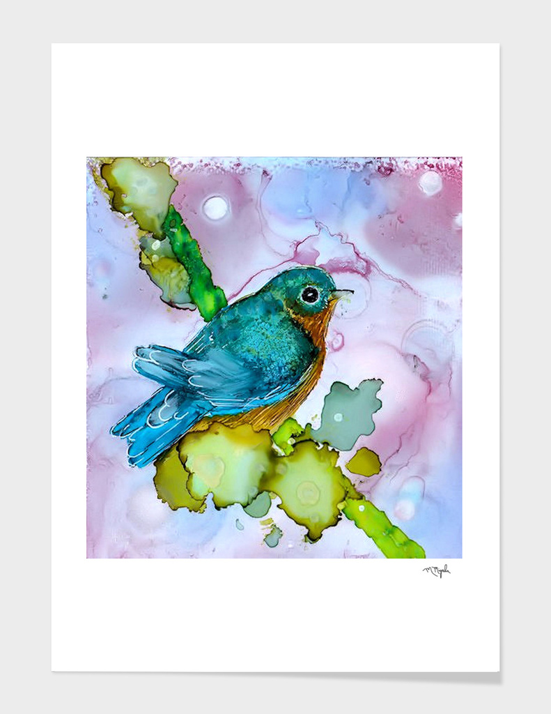 Alcohol Ink Blue Bird