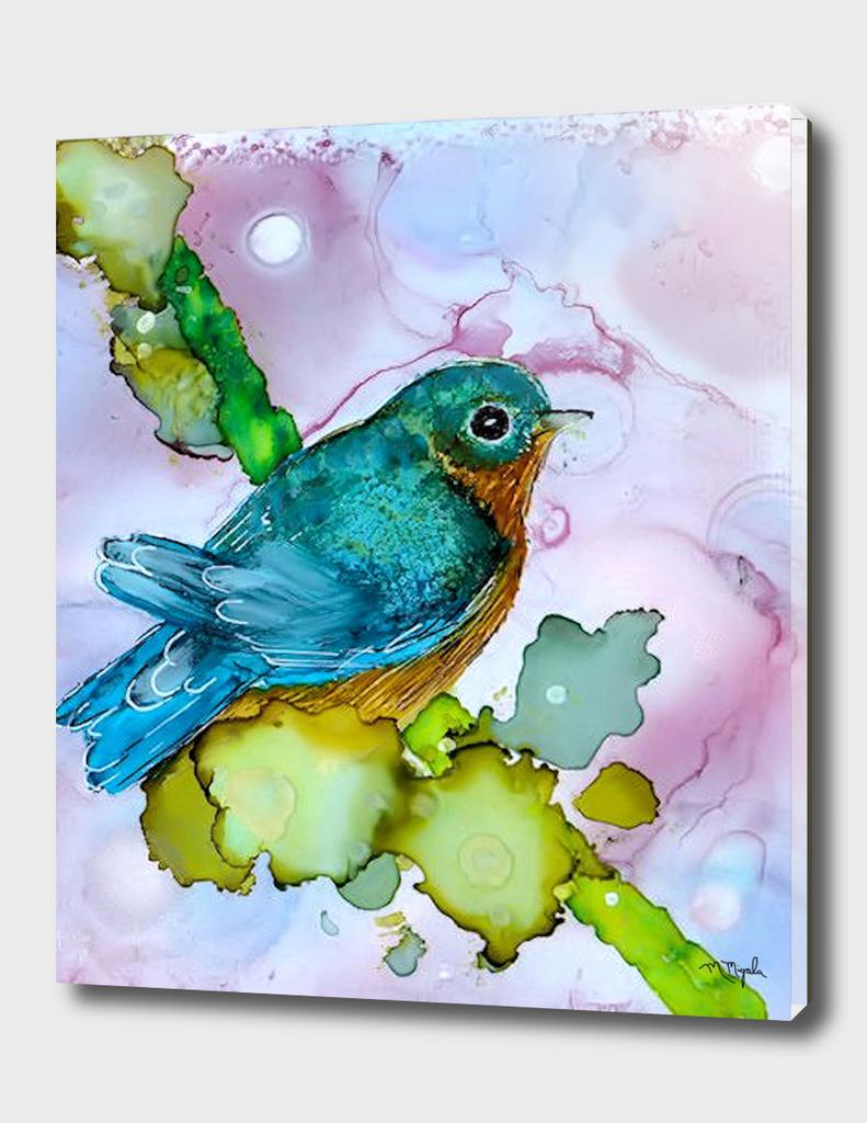 Alcohol Ink Blue Bird