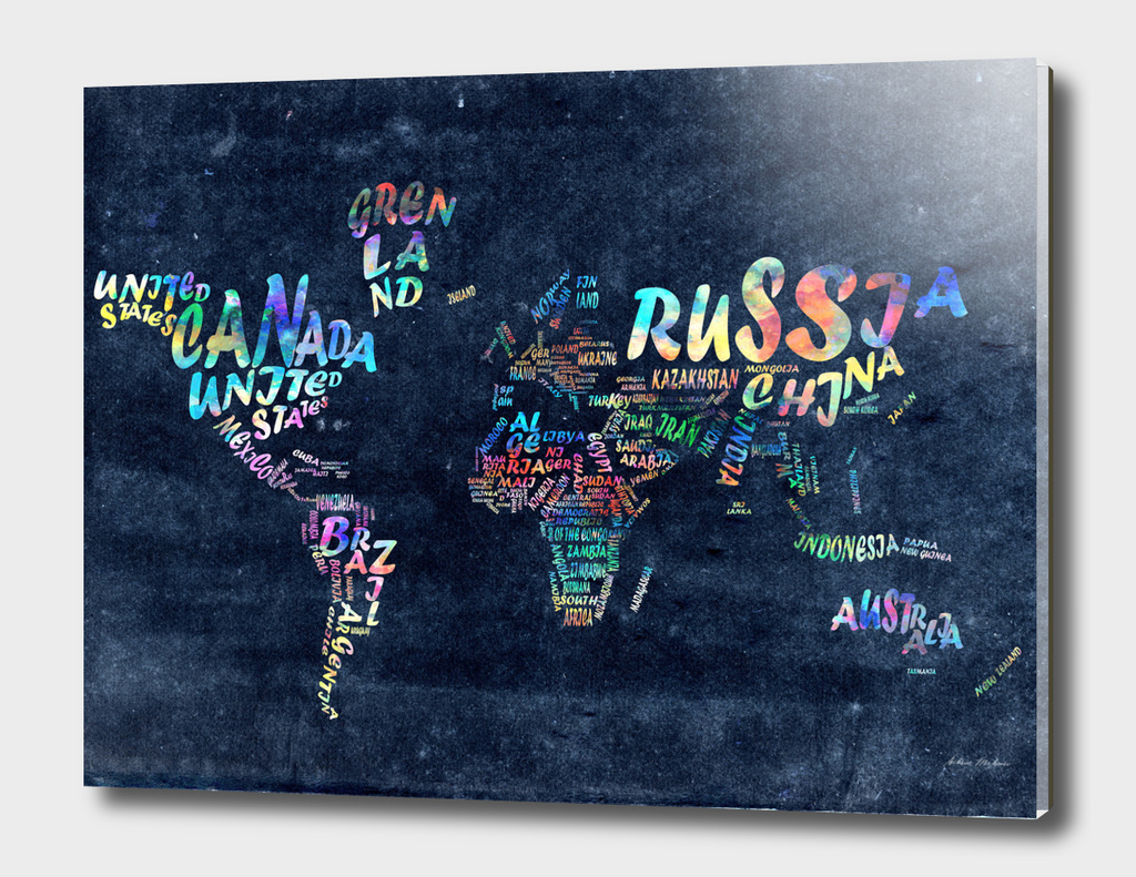 world map typography watercolor