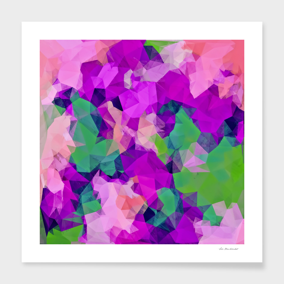 psychedelic geometric polygon abstract in pink purple green