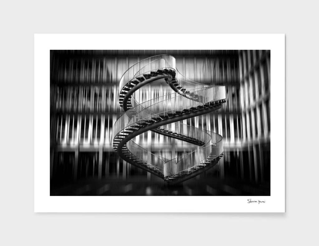 Infinite stairs on black and white